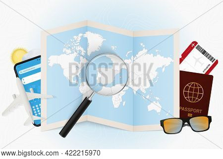 Travel Destination Spain, Tourism Mockup With Travel Equipment And World Map With Magnifying Glass O