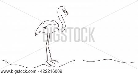 Self Drawing Flamingo Bird One Line. Simple Continuous One Black Line Drawing Of Tropical Bird Flami
