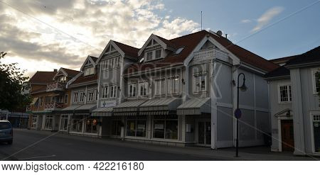 Typical small town in Southern Norway. June 21,2018. Kongsberg,Norway