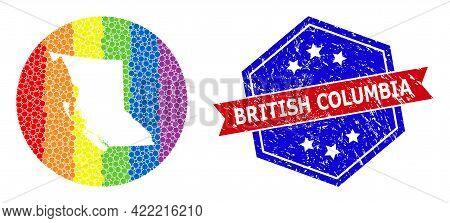 Dot Rainbow Gradiented Map Of British Columbia Province Mosaic Created With Circle And Stencil, And