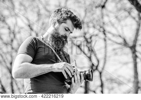 Manual Settings. Photographer With Beard And Mustache. Man Shooting Photos. Content Creator. Man Bea