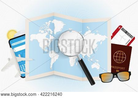 Travel Destination Slovakia, Tourism Mockup With Travel Equipment And World Map With Magnifying Glas
