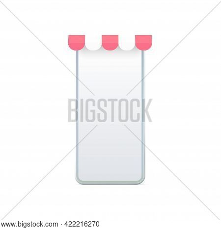 Smartphone 3d Screen With Awning Vector Template. Design Online Store In White Mobile App With Red C