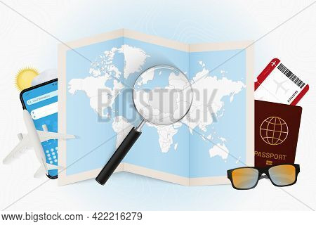 Travel Destination Poland, Tourism Mockup With Travel Equipment And World Map With Magnifying Glass