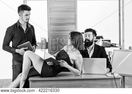 Stimulate Sexual Desire. Woman Working In Mostly Male Collective. Intentional Sexual Provocation. Wo