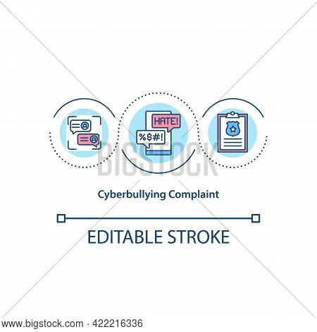 Cyberbullying Complaint Concept Icon. Reporting Harmful Content In Social Media Idea Thin Line Illus