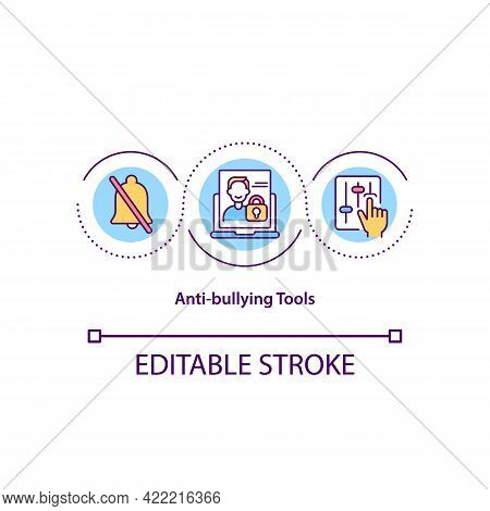Anti-bullying Tools Concept Icon. Bullying Prevention Idea Thin Line Illustration. Comments Moderati