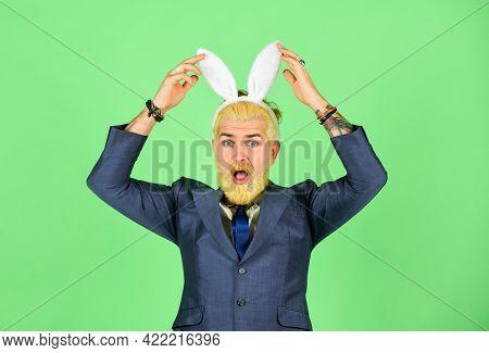 Spring Holidays. Businessman Wear Bunny Costume Accessory. Bearded Man Touch Bunny Ears On Head. Eas