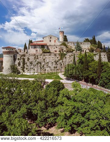 Drone View Of The Medieval Castle Of Brescia City. Lombardy, Italy (vertical Photo)