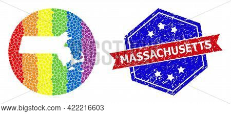 Pixelated Spectrum Map Of Massachusetts State Collage Created With Circle And Subtracted Space, And