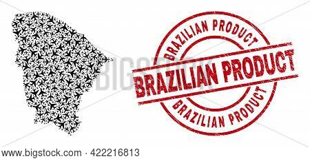 Brazilian Product Scratched Seal Stamp, And Ceara State Map Mosaic Of Aircraft Items. Mosaic Ceara S