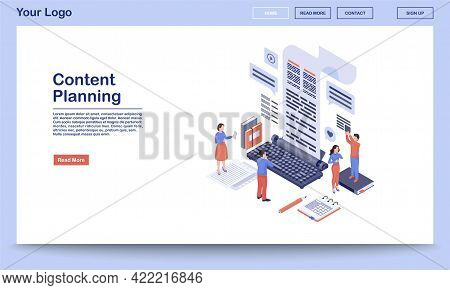 Content Planning And Management Landing Page Template. Copywriting, Blogging Website Interface With