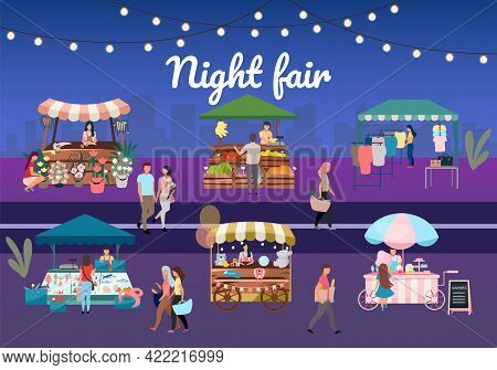 Night Street Fair Flat Vector Illustration. Outdoor Market Stalls, Summer Trade Tents With Sellers A