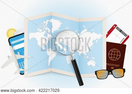 Travel Destination Bosnia And Herzegovina, Tourism Mockup With Travel Equipment And World Map With M