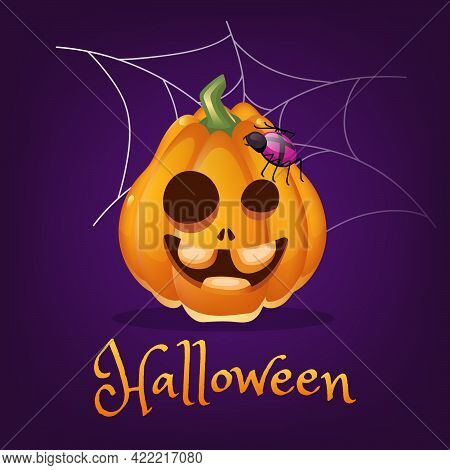 Spooky Pumpkin Cartoon Vector Illustration. Halloween Lantern With Crazy Smile And Spider Isolated C