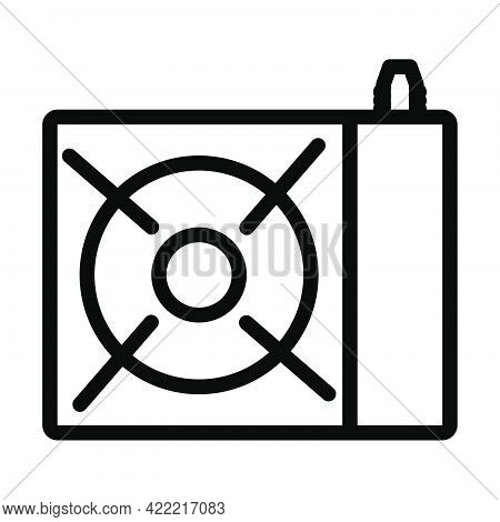 Icon Of Camping Gas Burner Stove. Editable Bold Outline Design. Vector Illustration.