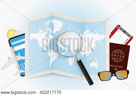 Travel Destination Montenegro, Tourism Mockup With Travel Equipment And World Map With Magnifying Gl