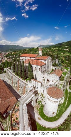 Brescia - Italy. May 20, 2021: Beautiful Vertical Panoramic View From A Drone Of A Medieval Castle A