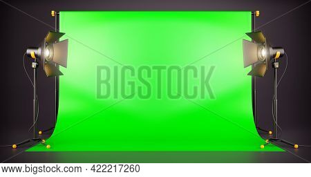 Green screen background TV studio with spotlights on stands for a movie and tv show filming. Professional Studio lighting equipment for the production of cinema. Empty space. 3d illustration.