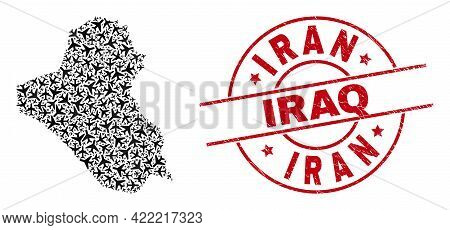 Iran Iraq Distress Seal Stamp, And Iraq Map Collage Of Air Force Items. Collage Iraq Map Created Usi