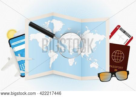 Travel Destination Macedonia, Tourism Mockup With Travel Equipment And World Map With Magnifying Gla