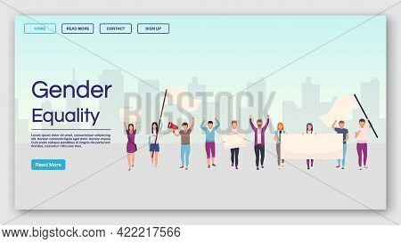 Gender Equality Landing Page Vector Template. Social Movement And Democracy Manifestation Website In