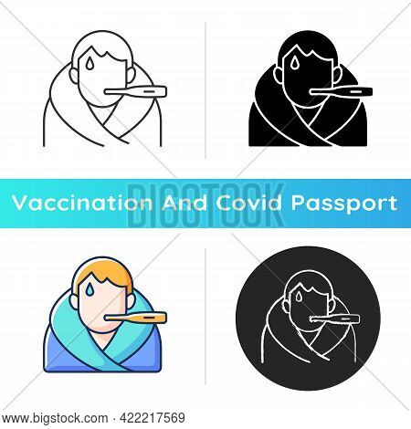 Fever Icon. Disease Symptom. Allergic Reaction. Patient With Temperature. Vaccination Side Effect. H
