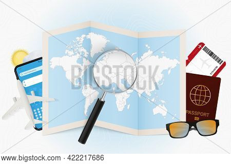 Travel Destination Liechtenstein, Tourism Mockup With Travel Equipment And World Map With Magnifying