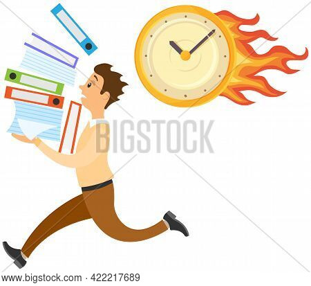 Running Male Character With Documents Isolated On White Background. Late On Job, Time Management, Ov