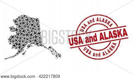 Usa And Alaska Rubber Seal, And Alaska Map Mosaic Of Air Plane Elements. Mosaic Alaska Map Designed