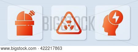 Set Triangle With Radiation, Astronomical Observatory And Head And Electric Symbol. White Square But