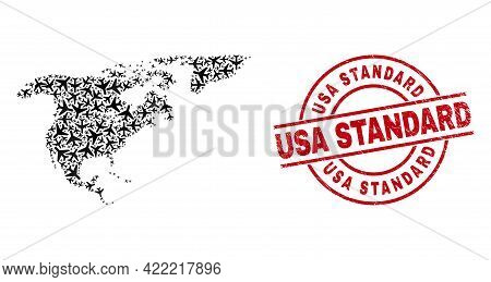Usa Standard Grunged Seal, And North America And Greenland Map Mosaic Of Jet Vehicle Items. Mosaic N