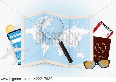 Travel Destination Iceland, Tourism Mockup With Travel Equipment And World Map With Magnifying Glass