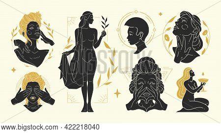 Magic Woman Vector Illustrations Of Graceful Feminine Women And Esoteric Symbols Set