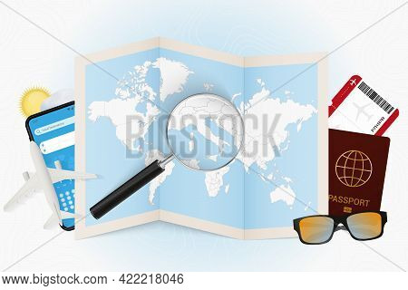 Travel Destination Vatican City, Tourism Mockup With Travel Equipment And World Map With Magnifying