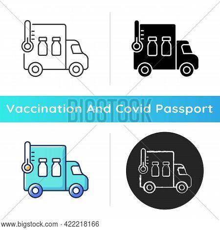 Vaccine Transportation Icon. Drug Distribution. Pharmaceutical Remedy Shipment Van. Truck With Pharm