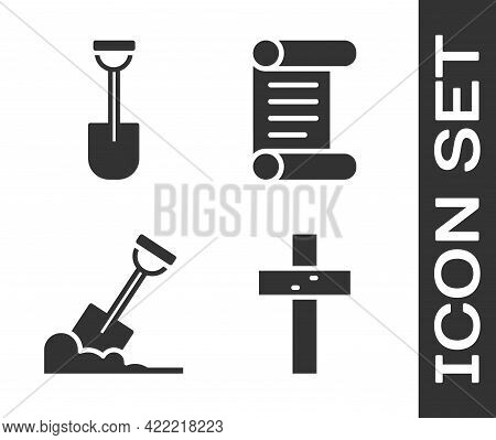 Set Christian Cross, Shovel, Shovel In The Ground And Decree, Parchment, Scroll Icon. Vector