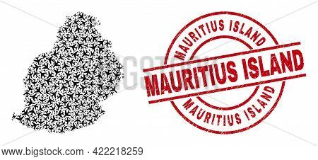 Mauritius Island Rubber Stamp, And Mauritius Island Map Collage Of Airplane Elements. Collage Maurit