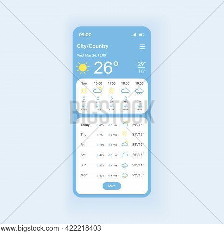 Weather Forecast Smartphone Interface Vector Template. Mobile App Page Design Layout. Hourly Data. H