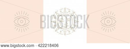 Magic Sun With Moon And Eye Of Wisdom In Boho Linear Style Vector Illustrations Set.