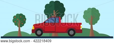 Pick Up Driving On Country Road. Landscape With Green Trees And Automobile. Driving In Forest. Vehic