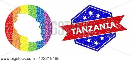 Dot Bright Spectral Map Of Tanzania Collage Created With Circle And Carved Shape, And Grunge Seal. L