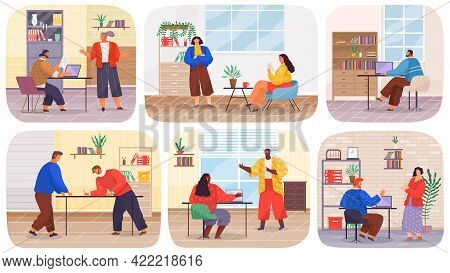 Set Of Illustrations About Office Work. Colleagues Communicate During Break. People Work With Techno