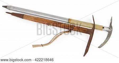 Old Ice Axe With Long Aluminum Shaft With Plastic Grip And Vintage Ice Axe With Wooden Handle, Manuf