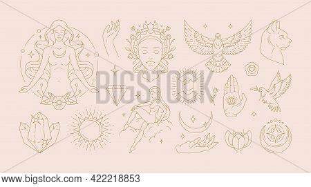 Magic Woman Boho Vector Illustrations Of Graceful Feminine Women And Esoteric Symbols Set.