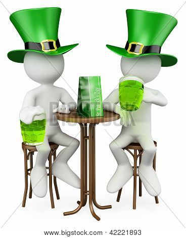 3D White People. Friends In The St. Patrick's Day