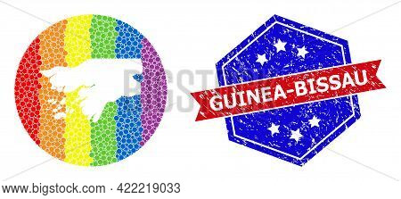 Dot Spectrum Map Of Guinea-bissau Mosaic Created With Circle And Carved Shape, And Scratched Seal St