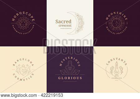 Esoteric Logos Emblems Design Templates Set With Mystic Moon And Magic Sun Vector Illustrations Mini