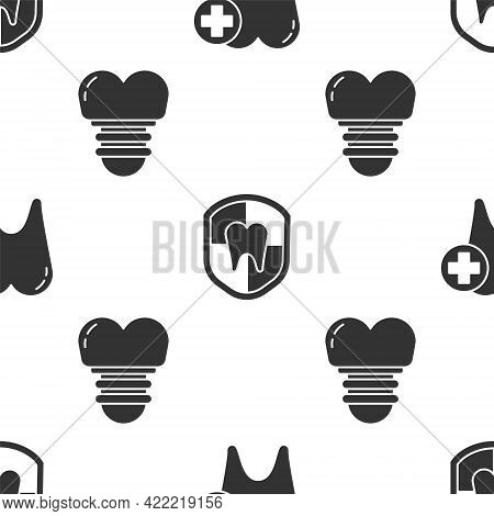 Set Tooth, Dental Protection And Dental Implant On Seamless Pattern. Vector