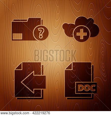 Set Doc File Document, Unknown Document Folder, Next Page Arrow And Add Cloud On Wooden Background.